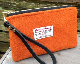 Harris tweed Wristlet clutch bag with detachable leather strap