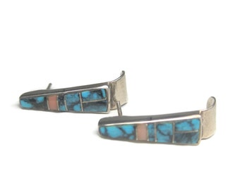 Vintage Zuni Sterling Turquoise Inlay Earrings
