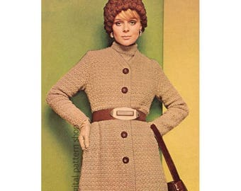 Long Coat Crochet Pattern 1970s Belted Midi Coat & Cloche Hat Pattern Womens Printable Instant Download PDF - C205