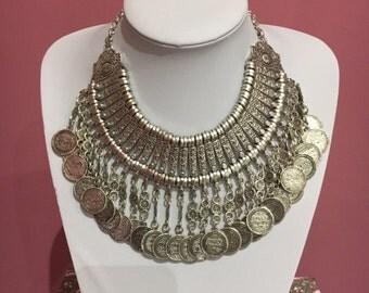 Indian silver boho coin necklace Coachella