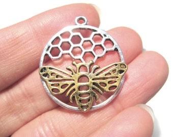 5pcs Silver Tone 3D Round Honeycomb & Gold Bee Pendants