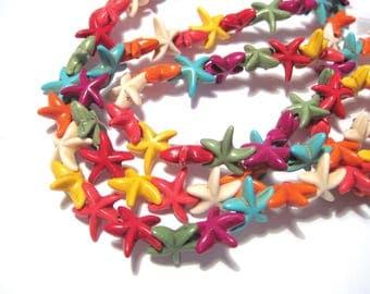 1 Strand Mixed Howlite Imitated Turquoise Starfish Beads