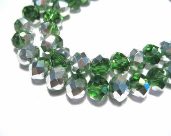 1 Strand Green Electroplate Glass Bead Half Silver Plated Faceted Rondelle Beads 8mm