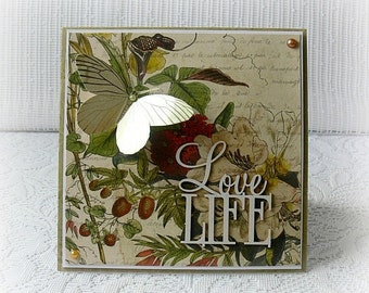 "Handmade card , 3D greeting card , Love life card , butterfly card , any occasion card , 6""x 6 "" card , blank card"