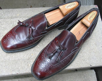 Johnston & Murphy Used Burgundy Leather Dress Loafers 11 C