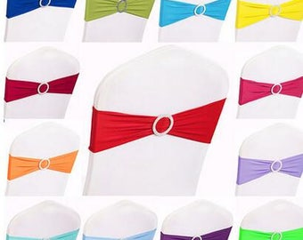 Spandex Chair Band with Buckle\Lycra Chair Band\Chair Sash 10 pcs More Colors!