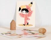 Card - Les Adorables Costumés  :  the flamingo
