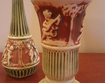 Roseville Donatello (2 ) tall vases - PRICE INCLUDES SHIPPING
