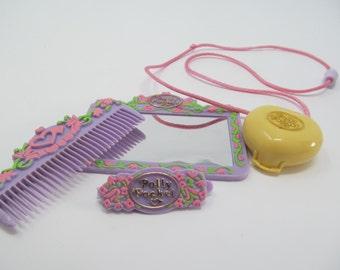 Vintage Polly Pocket Lot- Pretty Hair Playset PLUS a Yellow Bedroom Locket