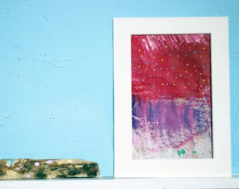 stars on purple sky - abstract painting made with acrylic paint , art for everyone,