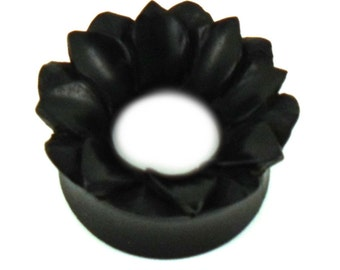 Wood tunnel flower double layer black unisex plug earrings earrings hand-carved (No. HPT-124)