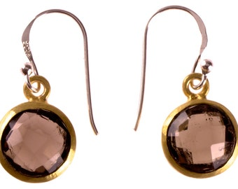 Silver earrings about smoky quartz faceted gold-plated 925 sterling silver Stone Brown (No. OSG-54)