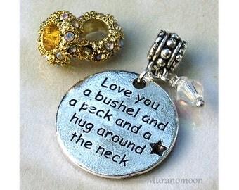 Love You A Bushel And A Peck And A Hug Around The Neck Dangle Charm Birthstone Gemstone Large Big Hole Fits Charm Bracelet #DC1060
