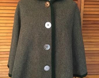 Vintage Wool Plaid Lined Cape Coat