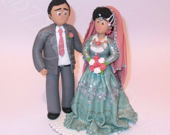 Handmade Personalised Asian Wedding Cake Topper Bespoke Asian Traditional Bride and Groom Outfits Made To Custom Wedding Cake Topper