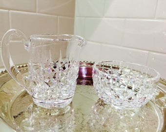Vintage Waterford Crystal Cream and Sugar Set Cut Glass Leaded Crystal