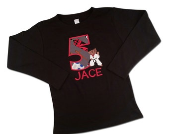 African American Ninja Karate Birthday Shirt with Number and Embroidered Name