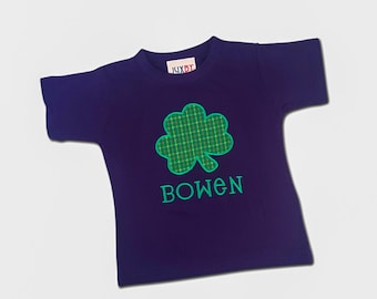 Boy St Patrick's Day Shamrock Shirt with Embroidered Name