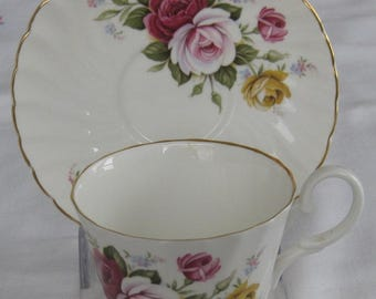 ROYAL STUART Bone China Cup and Saucer. Made in England. Peonies