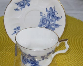 ENGLISH ROYAL WINDSOR Bone China Cup and Saucer Blue Roses Gold Trim