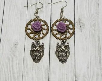 Owl gear earrings