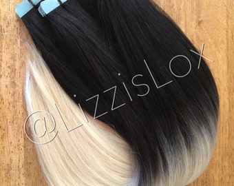Lizzis lox hair extensions wigs by lizzislox on etsy 22 tape in extensions black to blonde ombre 100 remy human hair aaa pmusecretfo Images