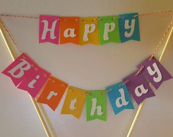 "Cake Bunting, ""Trolls"", Happy Birthday, Cake Topper, Paper banner"