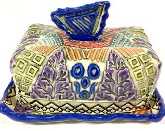 Colorful and Dynamic Hand Built Ceramic Butter Dish