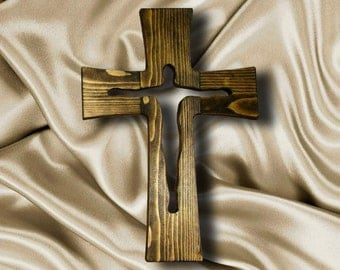 Modern Wooden Wall Cross Crucifix with Jesus Christ silhouette 13,5 inches high