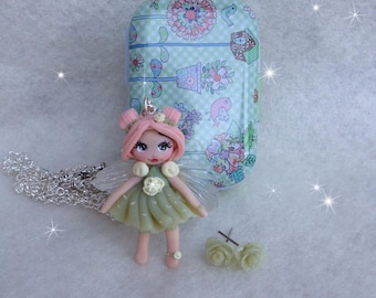 Spring fairy in polymer clay with Tin