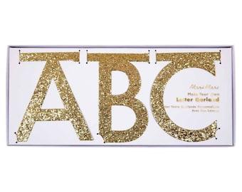 Gold Letter Banner Kit, Meri Meri Custom Banner, DIY Banner, Custom Party Banner, Letter Garland, Gold Glitter Letters, Personalized Banner