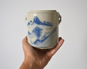Vintage Blue and White Watercolor Cheese Crock