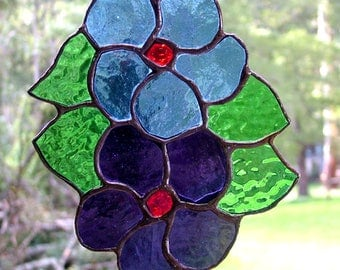 Flowers in Stained Glass Blue and Purple glass, Suncatcher, Handmade in Australia