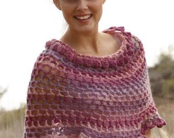 Hand made poncho, wool poncho, wool shrug, crochet poncho, wool wrap, wool capelet.
