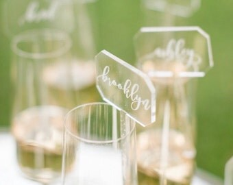 acrylic place cards etched - acrylic drink stirrers - custom laser cut  escort cards / place cards
