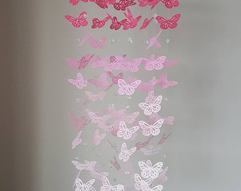 Purple Ombre Butterfly Mobile With Crystal Beads Butterfly