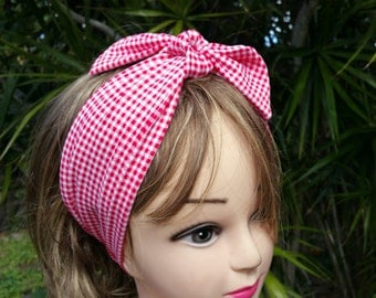 3 Styles Convertible Headband, Stretch Country Pink Plaid Checkered Headband with Removable Bow, Stretch Pink Country Style Hairband Earmuff