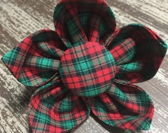 Flower Collar Attachment & Accessory for Dogs and Cats  / CHRISTMAS Holiday Green and Red Tartan
