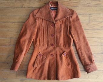 Vintage 70's burnt orange suede collar coat