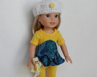 Handmade 14 in Doll Clothes ~Craft Class Day Clothes~ Fits 14 in Dolls like wellie wishers doll clothes AG