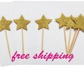 Free shipping set 12 pcs Glitter  Stars Cake Topper Set for Kids Birthday Party Baby Shower party