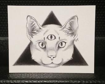 Third Eye Cat, Art Postcard