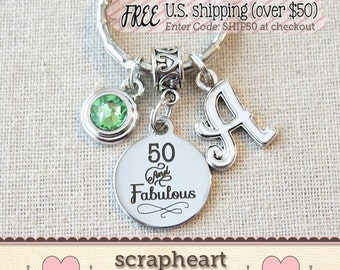 50th BIRTHDAY Gift for Her, Milestone Birthday Gifts for Friend, 50 and Fabulous Key Ring Bag Clip, Friendship Birthstone Keychain - 00
