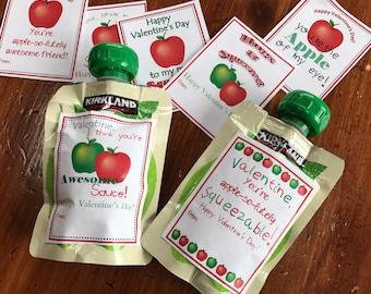 Kids Printable Valentine, Apple of My Eye Valentine, Apple Pouch Valentine, Hugs and Squeezes Valentine, Valentine's Day, printable Download