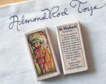 St Hubert Patron Saint Block // 100+ Catholic Saints to choose from // Catholic boy // St Hubertus patron of animals and hunters