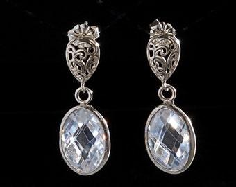 Wedding jewelry Earrings Sterling silver earrings Stud earrings Dangling earrings Cubic zerconia earrings
