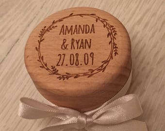 Engraved personalised wooden wedding ring box with satin ribbon