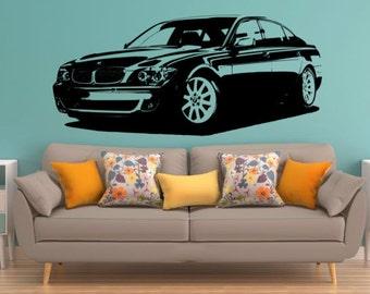 BMW 760Li wall art sticker boys bedroom decorative wall decal.