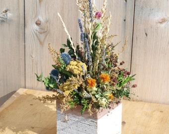 dried flower arrg, primitive flower arrg, country decor