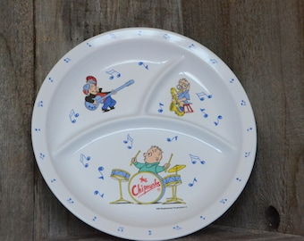 Alvin and the chipmunks, child's plates, Music notes, Playing instruments,